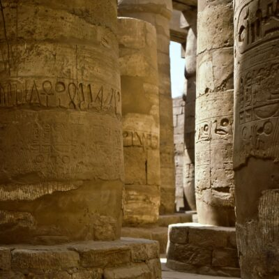 Säulen der großen Hypostylhalle – Ägypten, Luxor, Karnak – Mai 1984