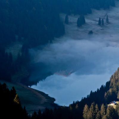 Seespiegelung und Nebelschleier - Sämtisersee, Sicht vom Hohen Kasten - 29. September 2008