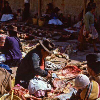 Ziegen-Fleischmarkt – Bolivien, Betanzos – November 1984