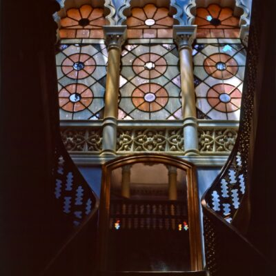 Haupttreppe mit Säulen – Bolivien, Castillo de la Glorieta – November 1984