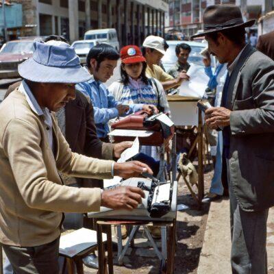 Dienstleistung für manuelle Schreibarbeiten – Peru, Cusco – Dezember 1985